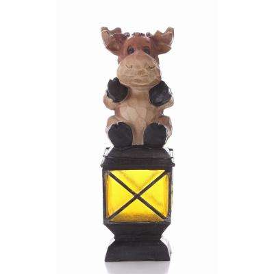 Moose With Umbrella Solar Lantern Statue