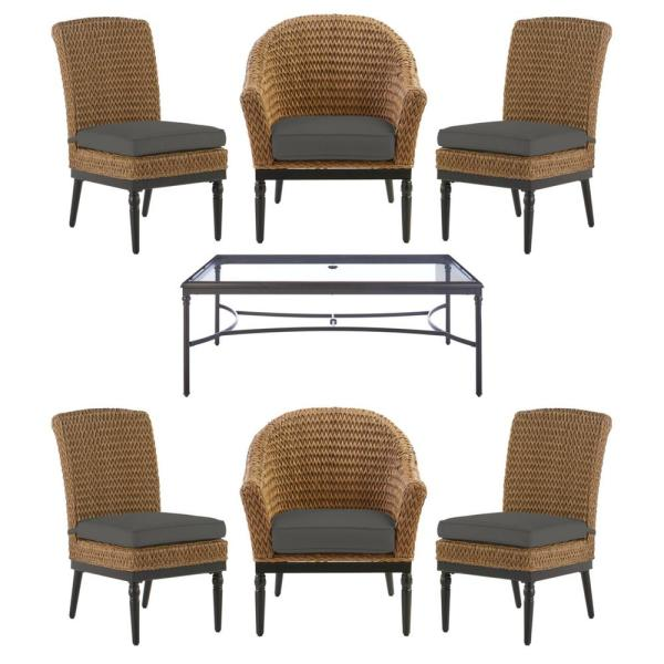 Camden 7-Piece Seagrass Light Brown Wicker Outdoor Patio Dining Set with CushionGuard Graphite Dark Gray Cushions