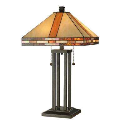 Mission Collection 24.5 in. Antique Bronze Art Glass Table Lamp