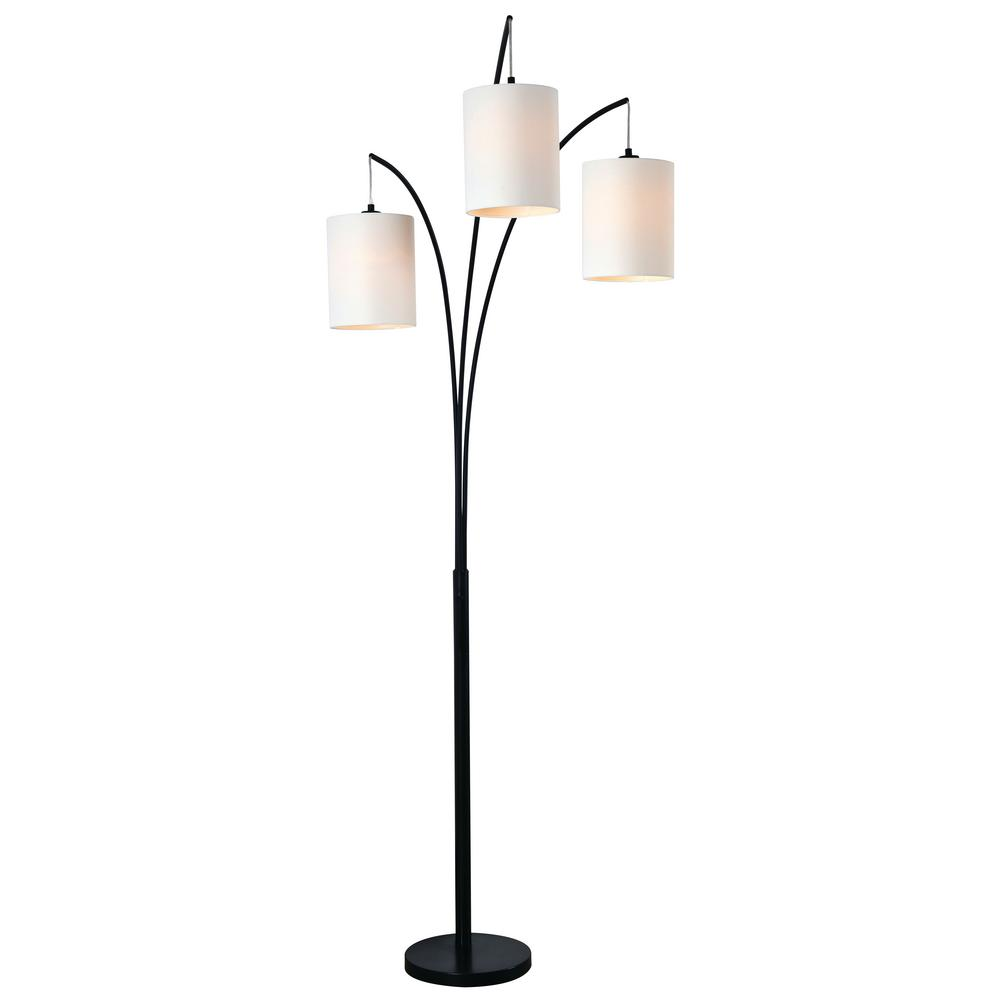 kenroy home leah 85 in black in door arc floor lamp with white drum