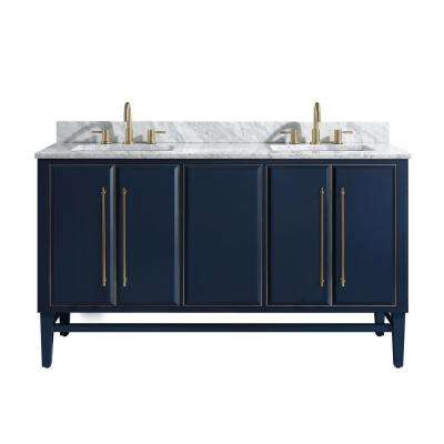 Mason 61 in. W x 22 in. D Bath Vanity in Navy Blue/Gold Trim with Marble Vanity Top in Carrara White with White Basins