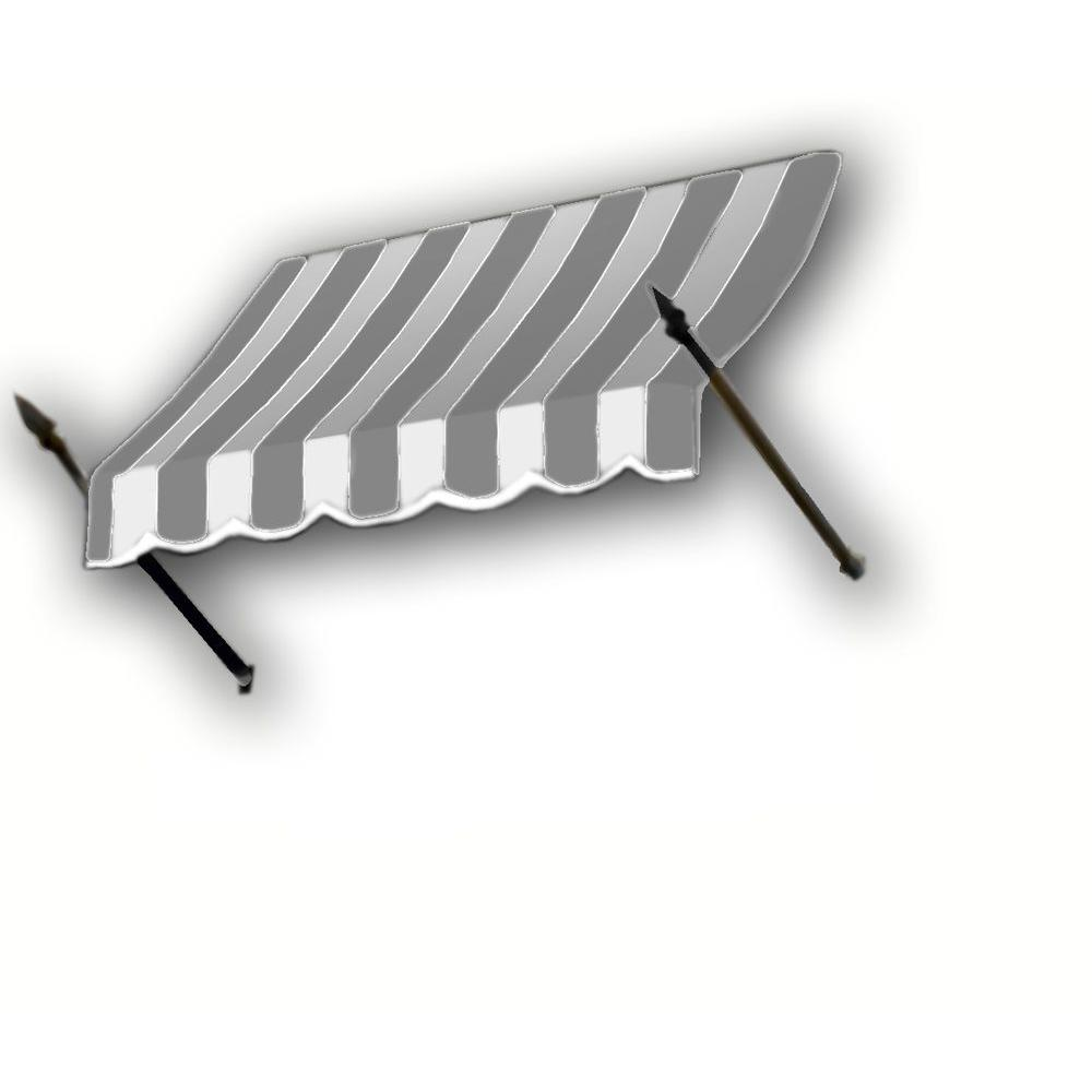 AWNTECH 14 ft. New Orleans Awning (44 in. H x 24 in. D) in Gray/White Stripe