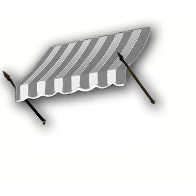 18 ft. New Orleans Awning (56 in. H x 32 in. D) in Gray/Cream/Black Stripe
