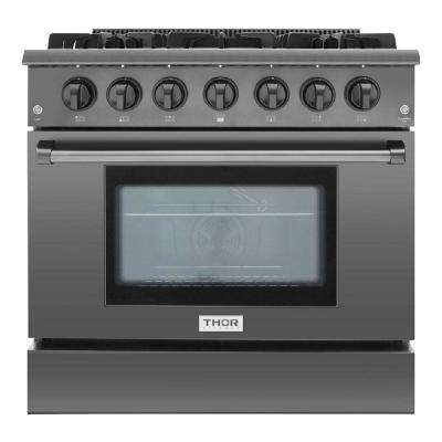 Pre-Converted Propane 36 in. 5.2 cu. ft. Professional Gas Range in Black Stainless Steel Single Oven