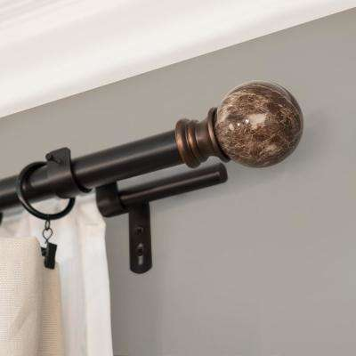 Core Marble Ball 72 in. - 144 in. Double Telescoping 1 in. Dia Drapery Rod Set in Brown