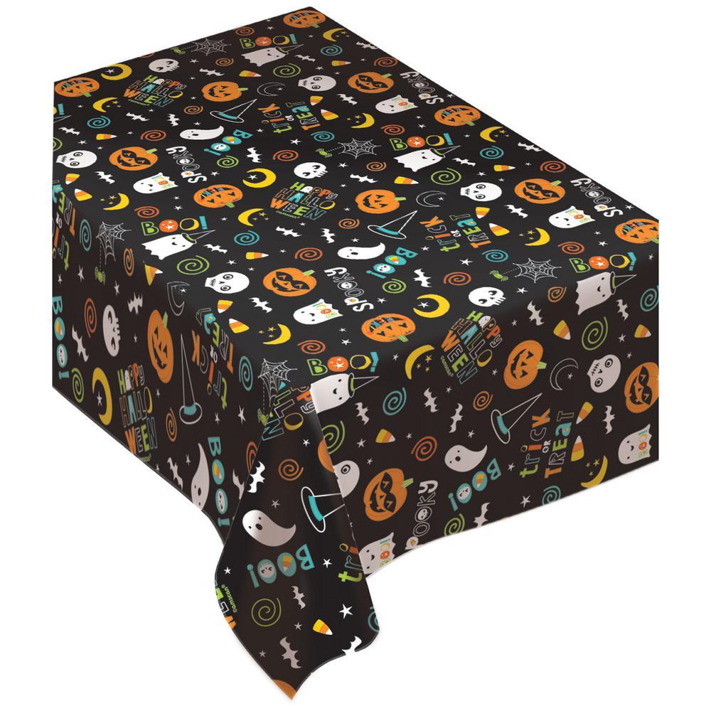 amscan 90 in. x 0.1 in. x 52 in. vinyl halloween friends flannel