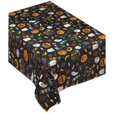 90 in. x 0.1 in. x 52 in. Vinyl Halloween Friends Flannel Backed Table Cover