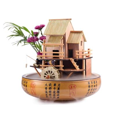 10 in. Bamboo House Fountain-Complete with Pump, Tubing and a decorative pot