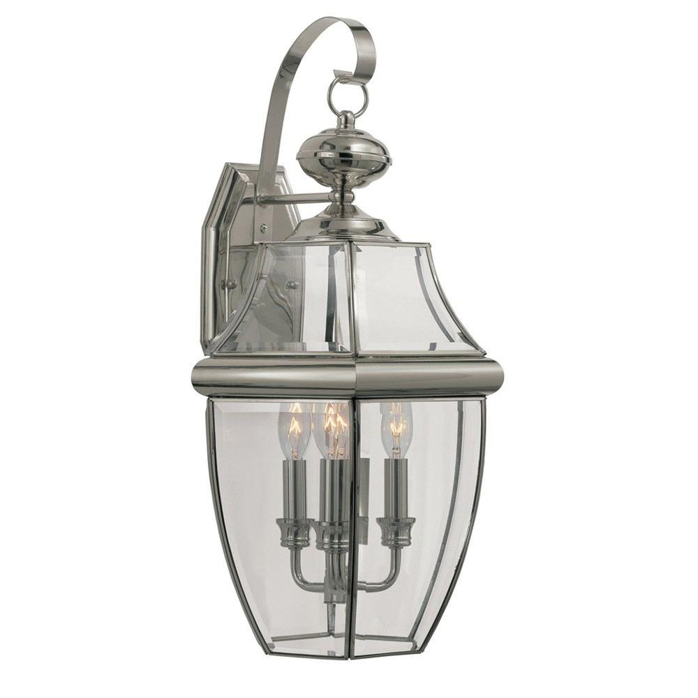 Stewart 1-Light Brushed Nickel Outdoor Incandescent Wall Lantern
