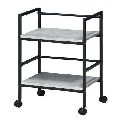 Modern MDF 4-Wheeled Storage Cart in Stone