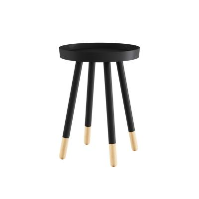 Wooden Round Tray Top Color-Block Black Side Table
