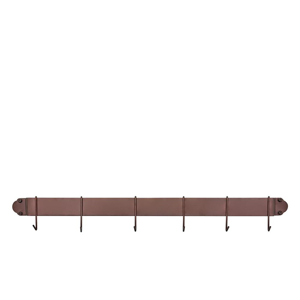 34 in. Oiled Bronze Bar Rack with 6 Hooks