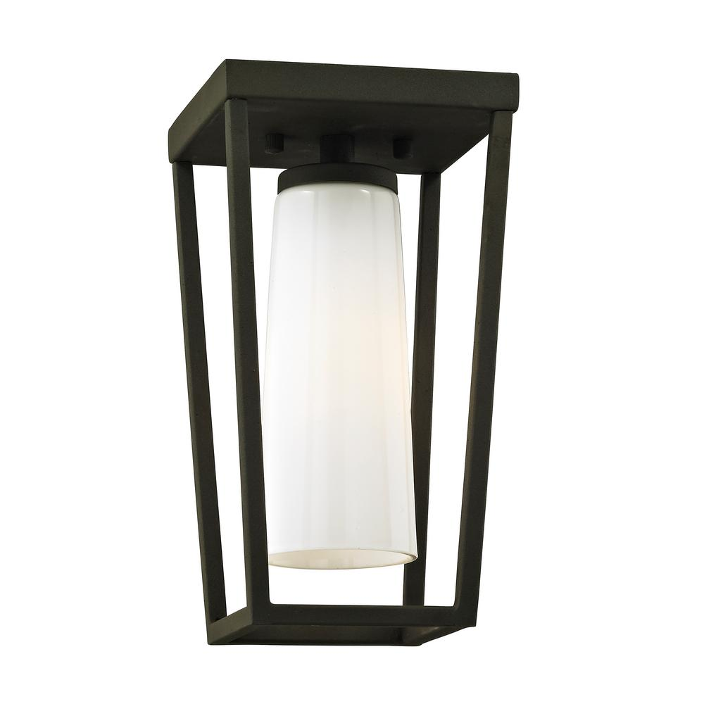 Outdoor Lighting For Beach House: Troy Lighting Mission Beach Textured Black 1-Light 6 In. W