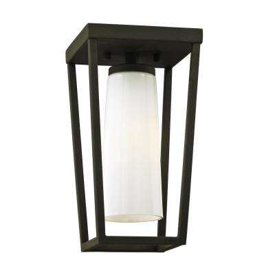 Mission Beach Textured Black 1-Light 6 in. W Outdoor Semi Flush Mount with Opal White Glass