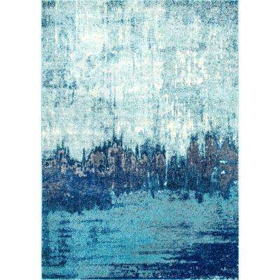 Alayna Abstract Blue 9 ft. x 12 ft. Area Rug