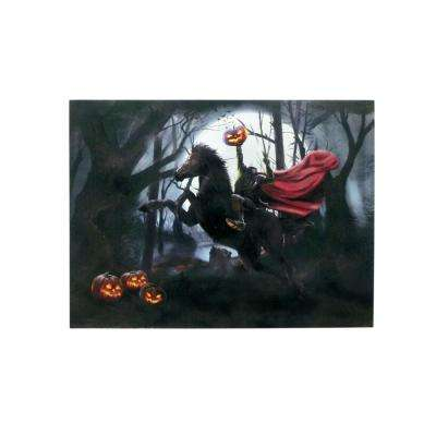 15 in. x 20 in. Halloween Headless Horseman LED Canvas with Sound