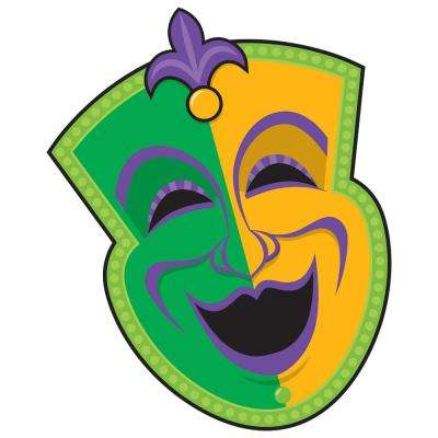 14.75 in. Mardi Gras Paper Comedy Mask Cutout (9-Pack)