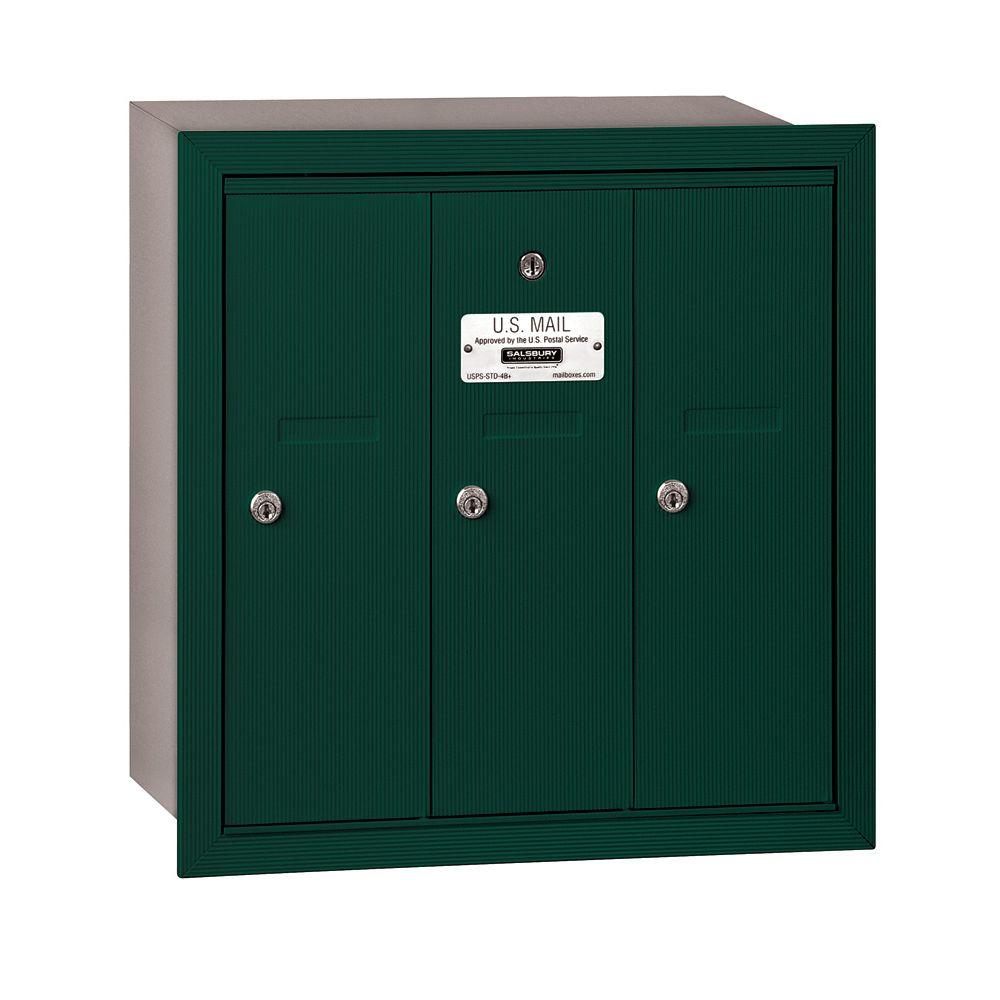 3500 Series Green Recessed-Mounted Private Vertical Mailbox with 3 Doors