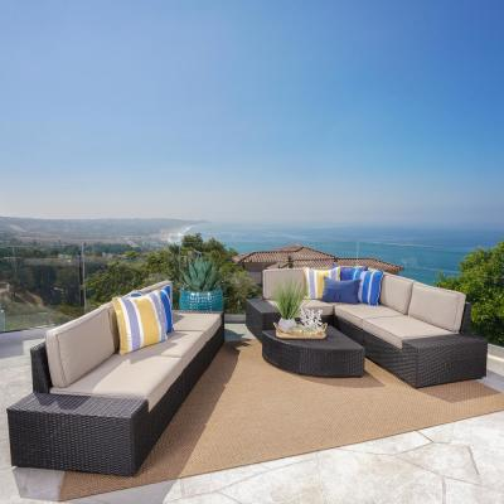 Eduardo Dark Brown 8-Piece Wicker Outdoor Sectional Set with Beige Cushions
