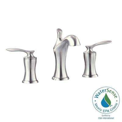 Fontaine 8 in. Widespread 2-Handle Mid-Arc Bathroom Faucet in Brushed Nickel with Drain