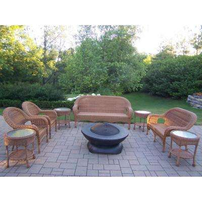 Natural 9-Piece Wicker Patio Fire Pit Seating Set with Oatmeal Cushions