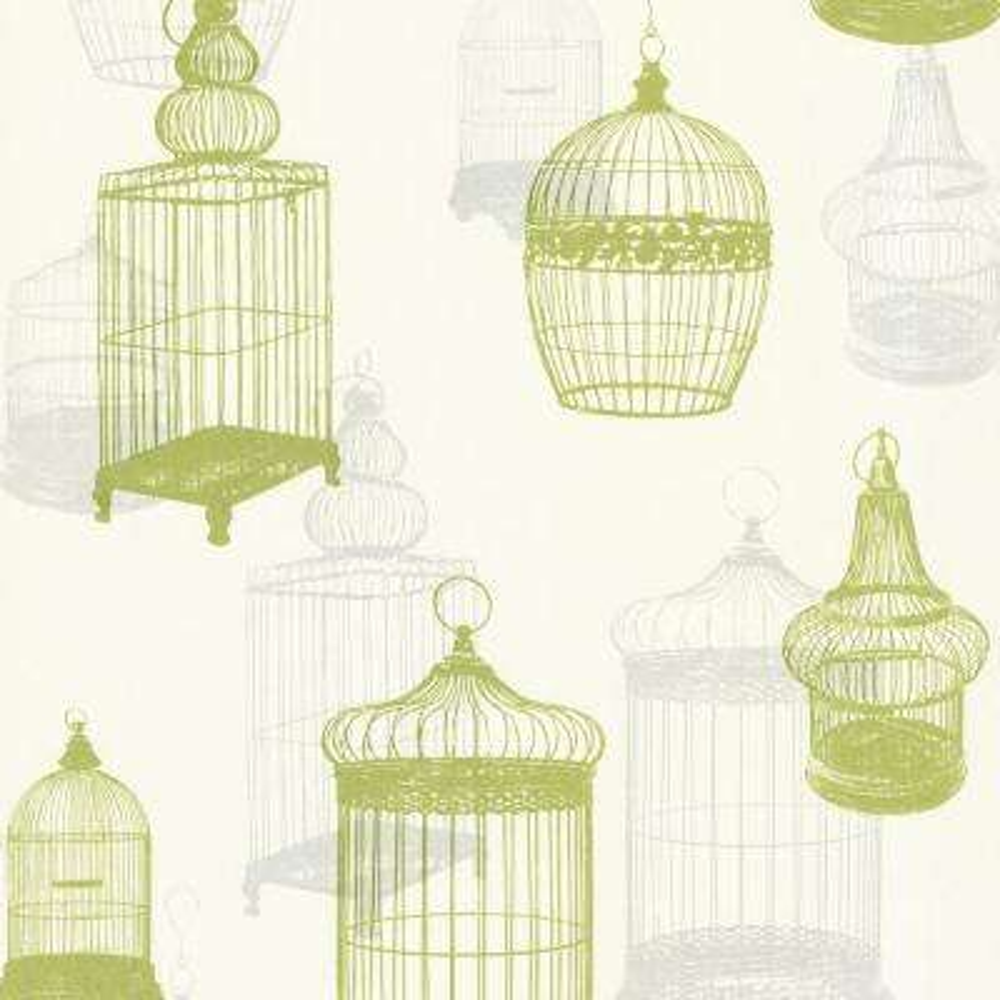 8 in. x 10 in. Avian Green Bird Cages Wallpaper Sample