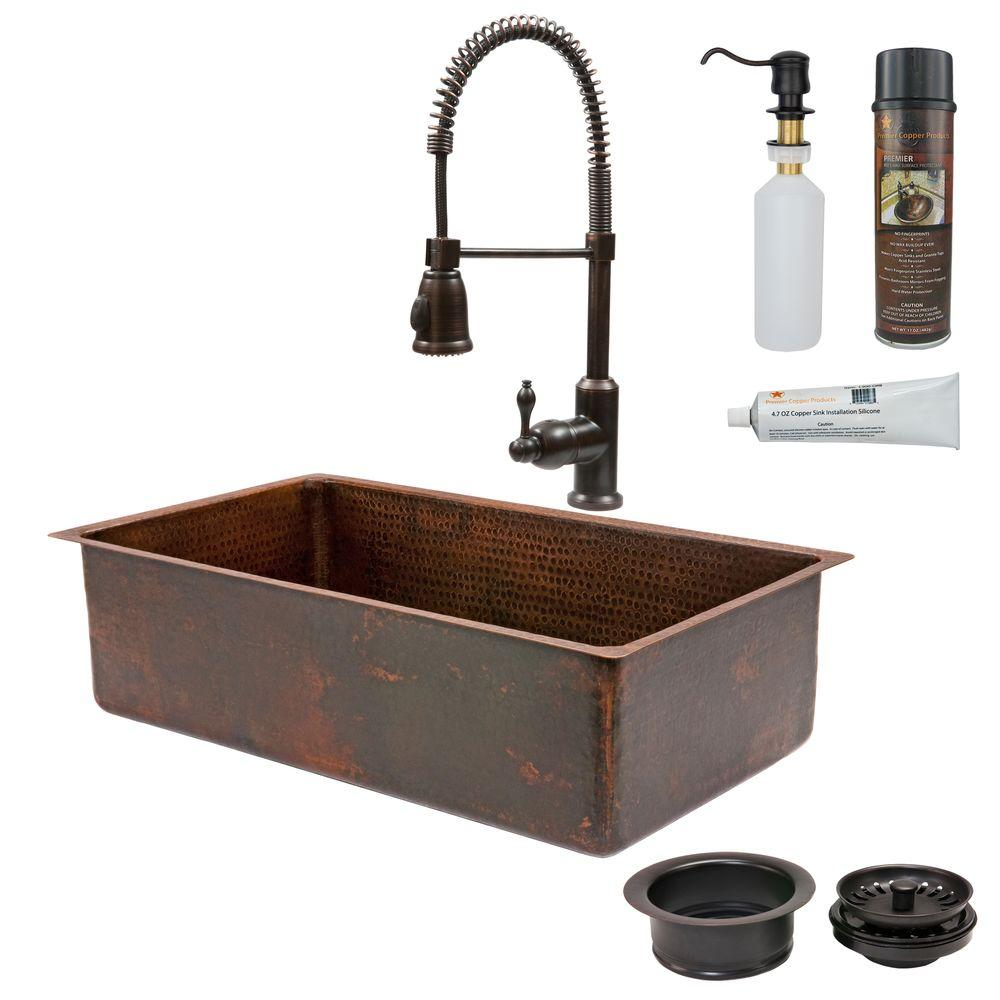 Polaris sinks undermount copper 33 in single bowl kitchen - Copper drop in kitchen sink ...