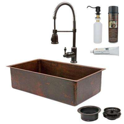 All-in-One Dual Mount Copper 33 in. 0-Hole Single Basin Kitchen Sink in Oil Rubbed Bronze