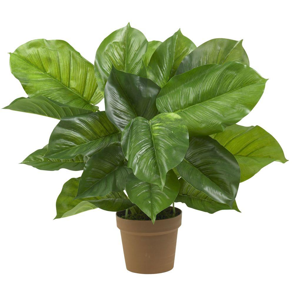 nearly natural real touch 27 in. h green large leaf philodendron