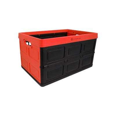 Foldable 48 Qt. Hardside Storage Crate in Red/Black