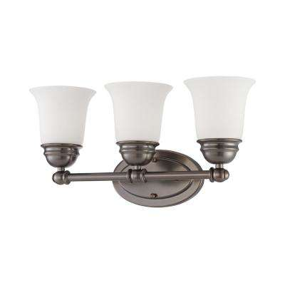 Bella 3-Light Oiled Bronze And Etched Glass Bath Light
