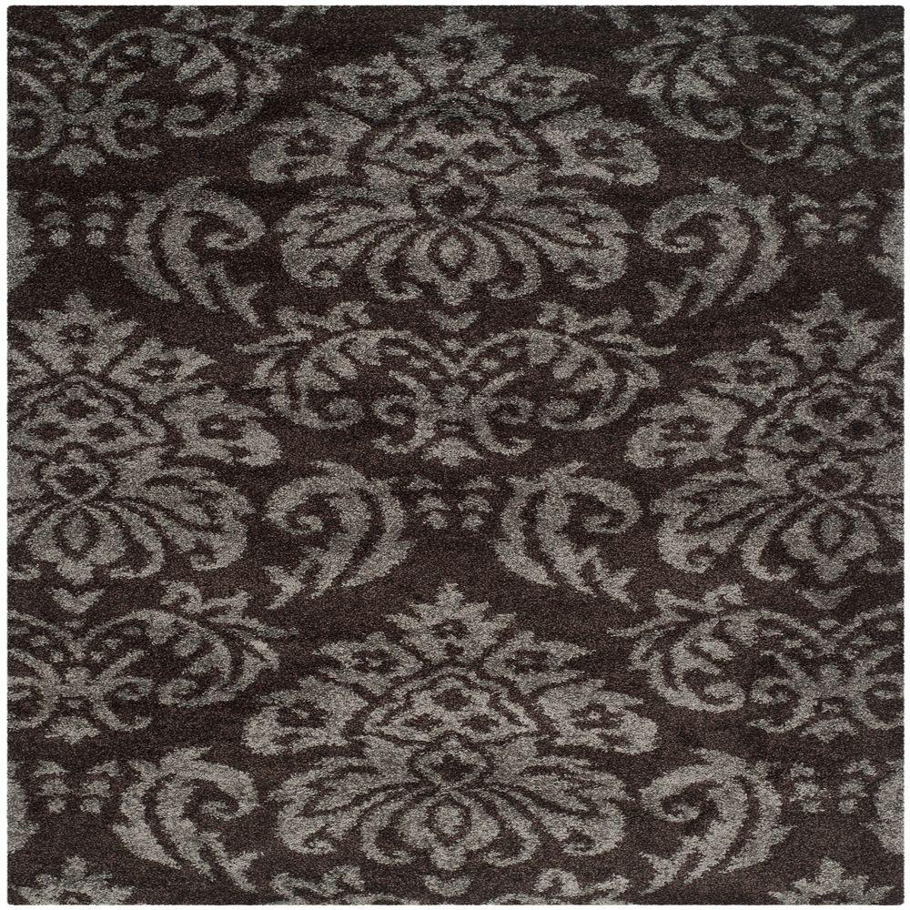 Oriental Rugs Jupiter Florida: Safavieh Florida Shag Dark Brown/Smoke 4 Ft. X 4 Ft