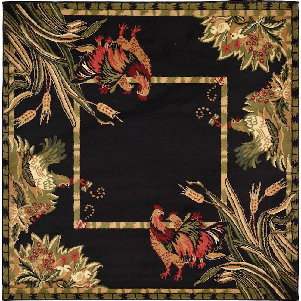 Barnyard Black 6' x 6' Square Rug
