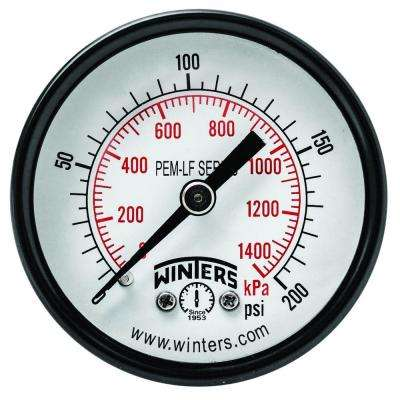 PEM-LF Series 2 in. Lead-Free Brass Pressure Gauge with 1/8 in. NPT CBM and 0-200 psi/kPa