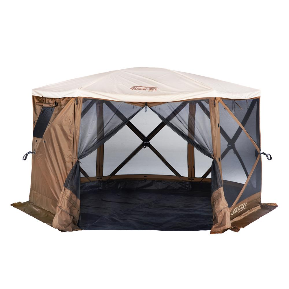 pretty nice ac1eb b7f95 Clam Quickset Sky 6-Side Screen Roof Camper Screen Shelter with Floor and  Rain Fly