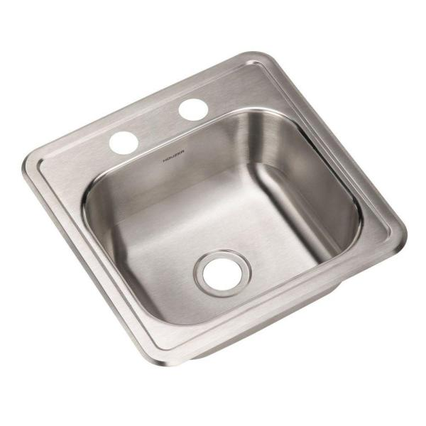 Hospitality Series Drop-in Stainless Steel 15 in. 2-Hole Bar/Prep Single Bowl Kitchen Sink