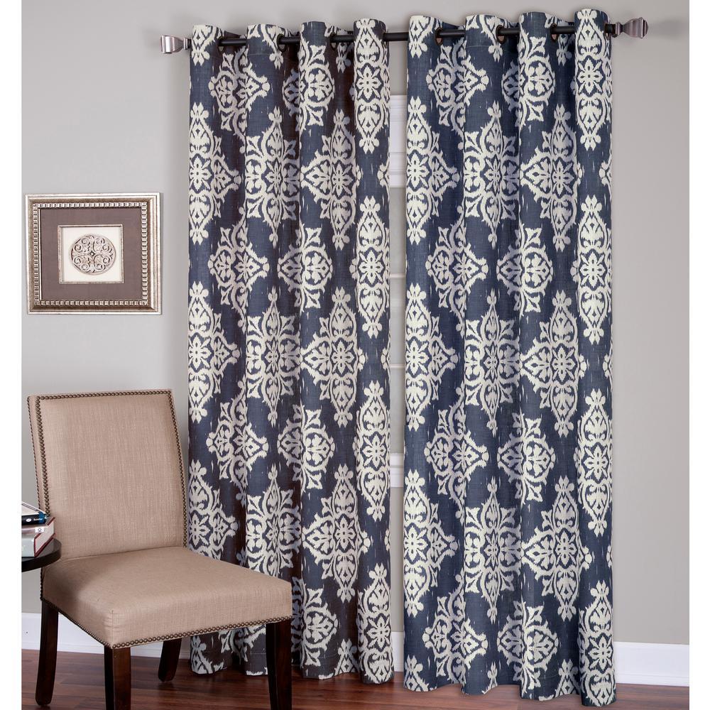 Elrene Medina 52 in. W x 95 in. L Polyester Single Window Curtain Panel in Navy