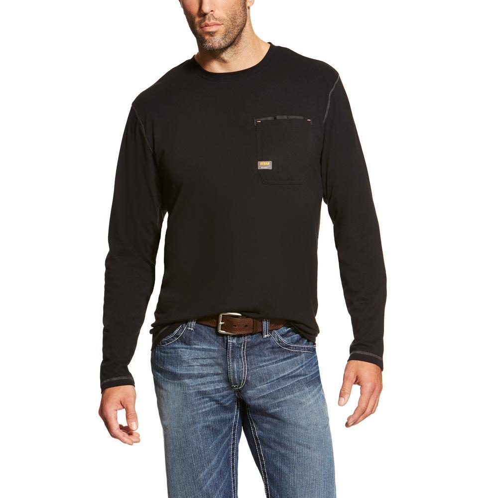 5e74861f Ariat Men's Size Large Tall Black Rebar Long Sleeve Work T-Shirt