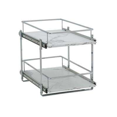 14.5 Inch Dual Slide Faux Marble Organizer, Extended, 1pk
