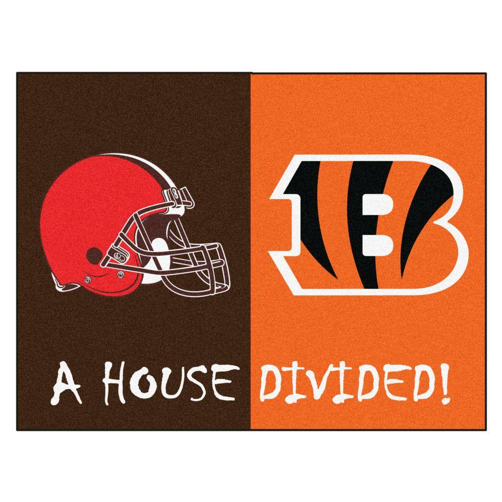 Fanmats Nfl Bengals Browns Brown House Divided 2 Ft 10 In