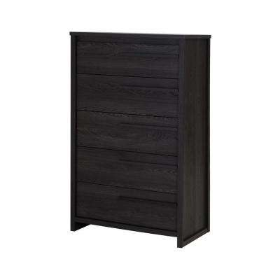 Tao 5-Drawer Gray Oak Chest