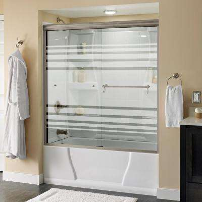 Portman 60 in. x 58-1/8 in. Semi-Frameless Sliding Bathtub Door in Nickel with Transition Glass