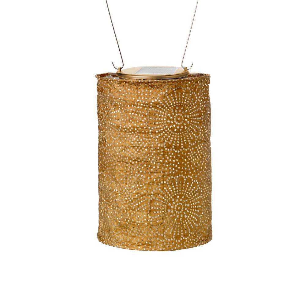 Soji Stella Drum 6.5 in. x 8 in. Copper Integrated LED Hanging Outdoor Tyvek UV Solar Lantern