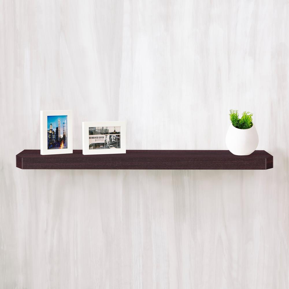 Uniq 35.4 in. W x 1.6 in. D Espresso Wood Grain zBoard  Floating Wall Shelf and Decorative Shelf