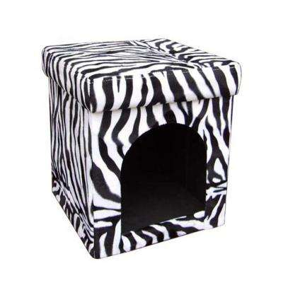 14.75 in. H Collapsible Zebra Pet House