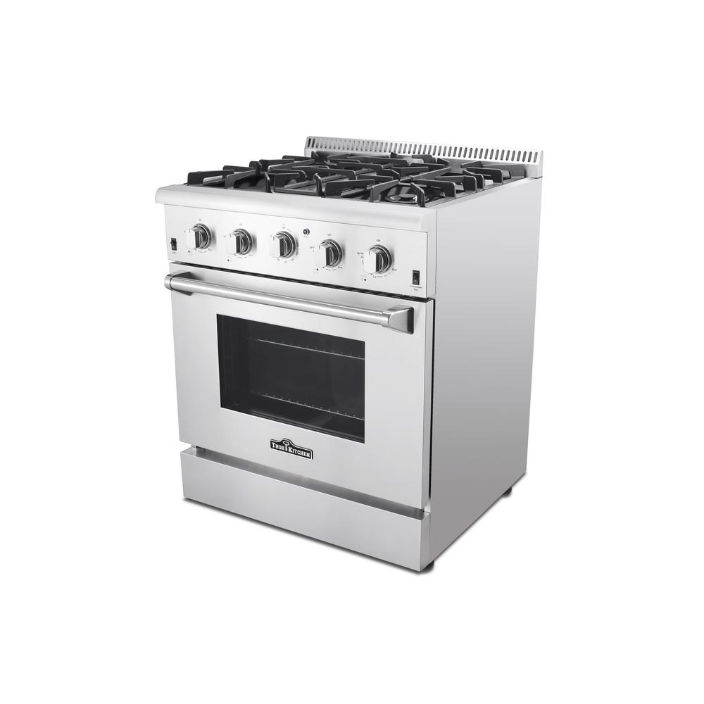 Thor Kitchen 4 2 Cu Ft Professional Gas Range In Stainless Steel Hrg3080u The Home Depot