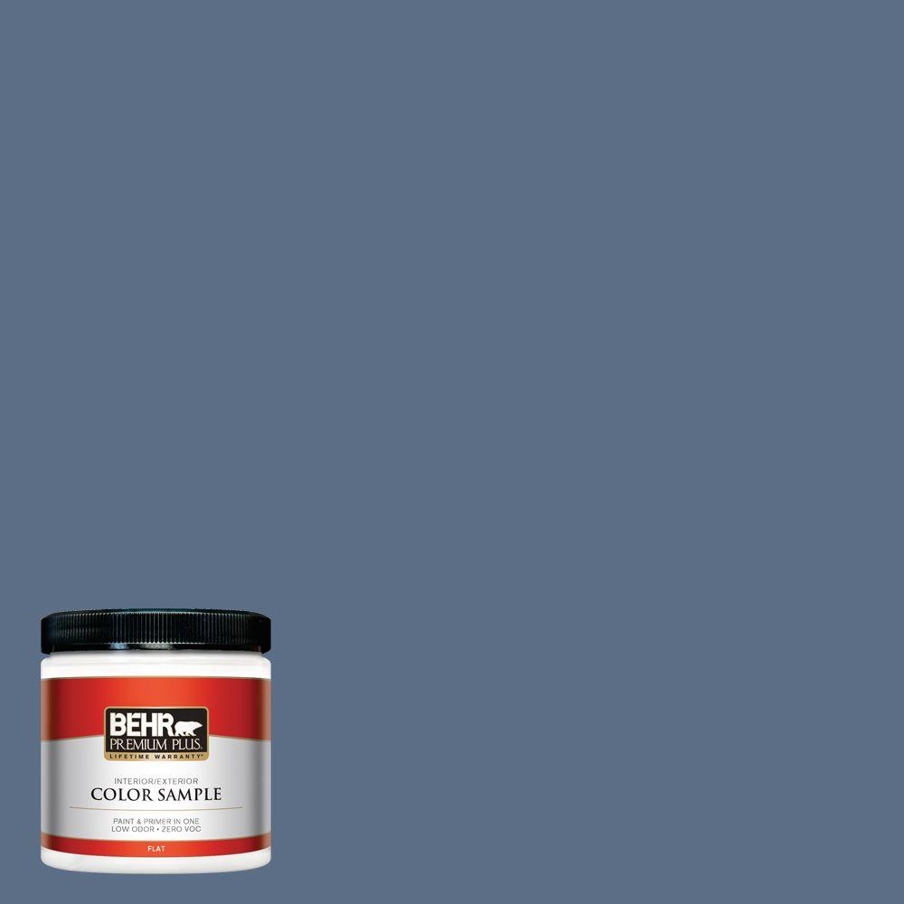 BEHR Premium Plus 8 oz. #ECC-57-3 Always Indigo Flat Interior/Exterior Paint and Primer in One Sample