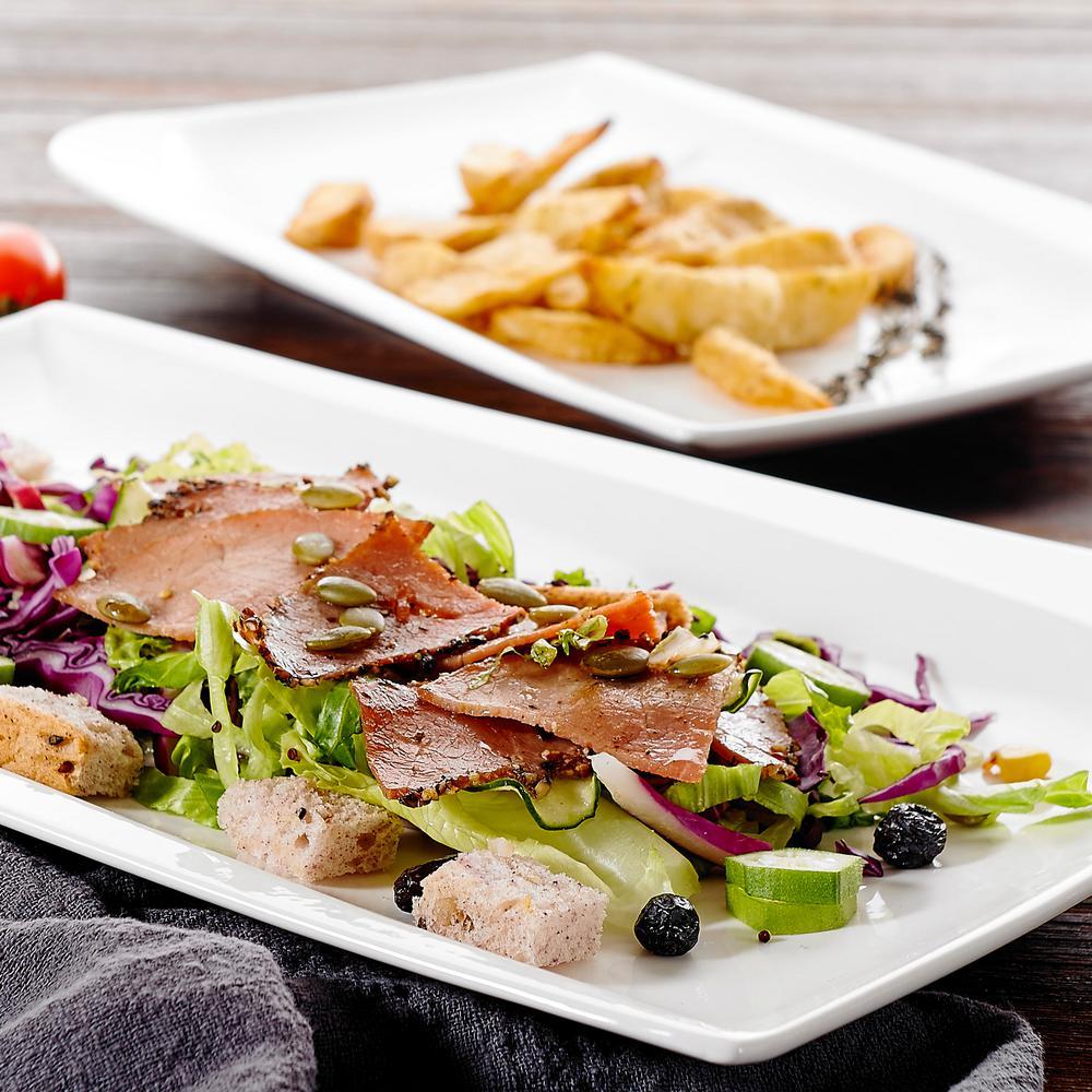 Cloris White Rectangle Porcelain Dinner Plates for Salad Pasta Dessert (Set of 2)