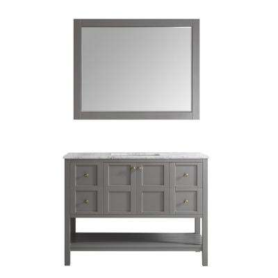 Florence 48 in. W x 22 in. D x 35 in. H Vanity in Grey with Marble Vanity Top in White with Basin and Mirror
