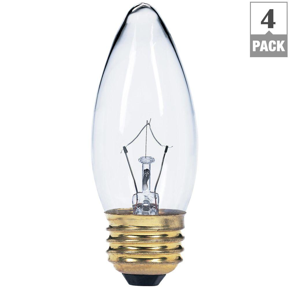 Globe Electric 25-Watt Incandescent B11 Clear Candelabra Base Chandelier Light Bulb (4-Pack)-DISCONTINUED